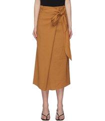 front tie linen midi skirt