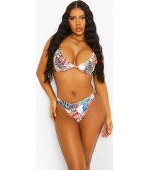 tropische bikini top met laag decolleté, white