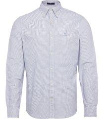 d1. oxford micro check slim bd overhemd casual blauw gant