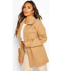 petite wool look belted pocket detail jacket, camel