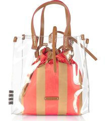manila grace transparent tote bag w/striped pouch