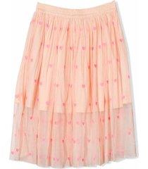 stella mccartney heart-embroidered tulle skirt