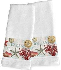 laural home dream beach shells 2-pc. hand towel set bedding