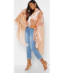 oversized organza maxi blouse, kameel