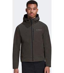 chaqueta adidas outdoor xplr softshellj gris - calce regular