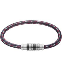 diesel men's stainless steel and nylon cord bracelet