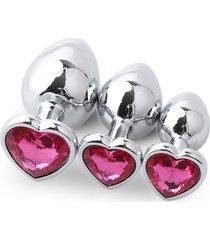 3pcs metal plug anal en forma de corazón grandes medianas y