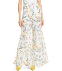 women's all things mochi coco floral print silk crepe flare pants