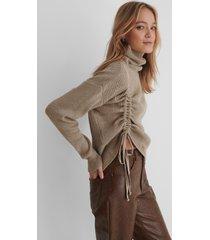trendyol drawstring detail knit sweater - beige