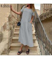 zanzea vestido a media pierna de lino caftán de lino casual de verano para mujer -gris