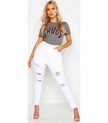plus super versleten skinny jeans met hoge taille, wit