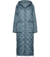 padded coat gevoerde lange jas blauw ilse jacobsen