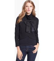 women's alice + olivia 'addison' bow detail jacket, size large - black