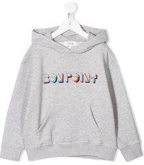 bonpoint long sleeve hooded logo sweater - grey