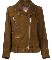 golden goose studded suede biker jacket - brown