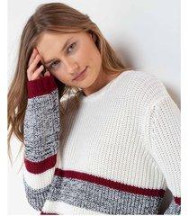 suéter franjas bicolor