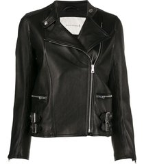 mackintosh buckle detail leather jacket - black