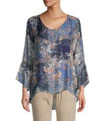 le marais women's printed silk high-low top - denim - size s