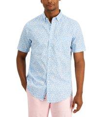 club room men's micro leaf-print shirt, created for macy's