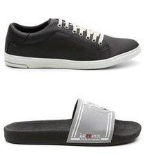 kit 1 par sapatênis 1 par chinelo masculino estilo casual preto e cinza 44