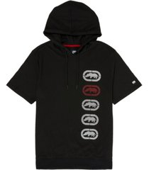 ecko unltd men's short sleeve hoodie with vert rhino repeat