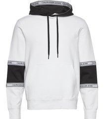 blocking logo tape hoodie hoodie trui wit calvin klein jeans