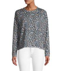 lea & viola women's distressed animal-print pullover - animal print - size m