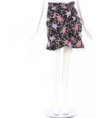 isabel marant roani black pink floral cotton mini skirt black, pink/floral print sz: m