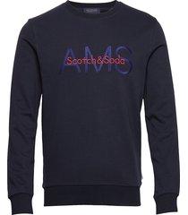 crewneck sweat with logo artwork sweat-shirt tröja blå scotch & soda