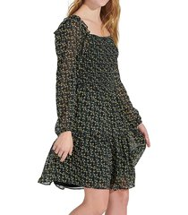 sam edelman women's floral smocked long-sleeve dress - black yellow - size 14