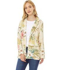 blazer básico print mujer beige tropical corona