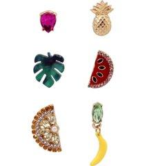 "betsey johnson mixed fruit single stud earrings set in gold-tone metal, 0.3""-0.9"""