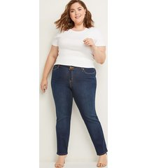 lane bryant women's deluxe fit straight jean - gamma dark wash 14 dark denim