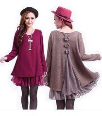 casual loose long sleeve top shirt women's knit wool mini dress blouse 7 s
