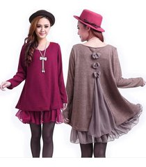 casual loose long sleeve top shirt women's knit wool mini dress blouse 7 s