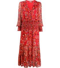 rixo maya klimt swirl-print dress - red