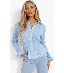 plisse blouse met knopen en franjes, blue