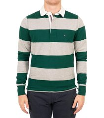 buzo verde tommy hilfiger iconic block stripe rugby