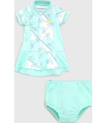 vestido lilica ripilica infantil com tapa fralda verde/branco