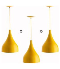 kit 3 lustres pd gota media alumínio 30cm amarelo