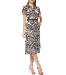 women's js collections embroidered lace midi dress