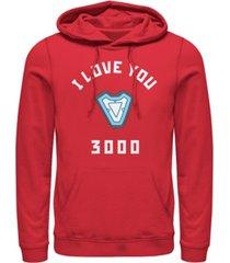 marvel men's avengers endgame core reactor i love you 3000, pullover hoodie