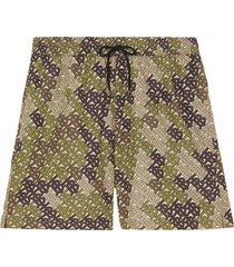 burberry monogram print drawcord swim shorts - green