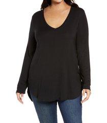 plus size women's halogen stripe tunic, size 3x - black