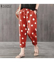 zanzea elástico de las mujeres de la cintura midi pantalones ocasionales de los lunares flojo holgado pantalón plus -rojo
