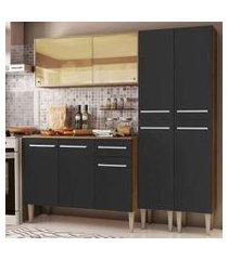 cozinha completa madesa emilly voice com armário vidro reflex, balcão e paneleiros - rustic/preto rustic/preto