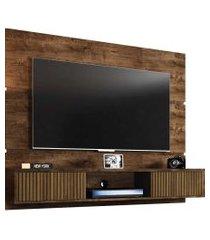 painel âmbar tvs até 65 pol. 2 portas madeira rústica/ripado móveis bechara marrom