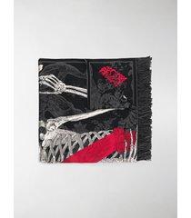 alexander mcqueen queen of hearts skeleton jacquard shawl