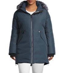 pajar women's plus down-filled faux fur-trim jacket - navy - size 2x (18-20)