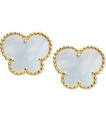 effy mother-of-pearl butterfly stud earrings in 14k gold